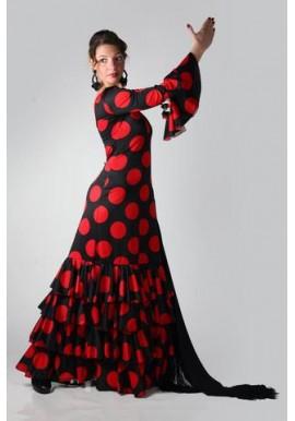 Vestido Flamenco confeccionado en lycra elasticada con 4 volantes